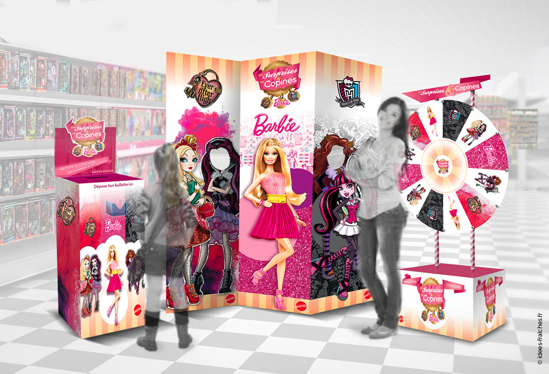 Création de supports marketing retail pour Mattel France